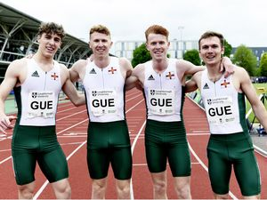 ATHLETICS The Guernsey 4x400m relay team at the Loughborough International. Left to right: Peter Curtis, Cameron Chalmers, Alastair Chalmers and Sam Wallbridge..Picture by Mark Shearman, 23-05-21. (29587432)