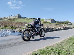 Pic supplied by Andrew Le Poidevin: 17-09-2016..Guernsey Kart & Motor Club Hillclimb at Fort Tourgis hill, Alderney...Andy Digard leaves the line with Fort Tourgis in the background.. (29985054)