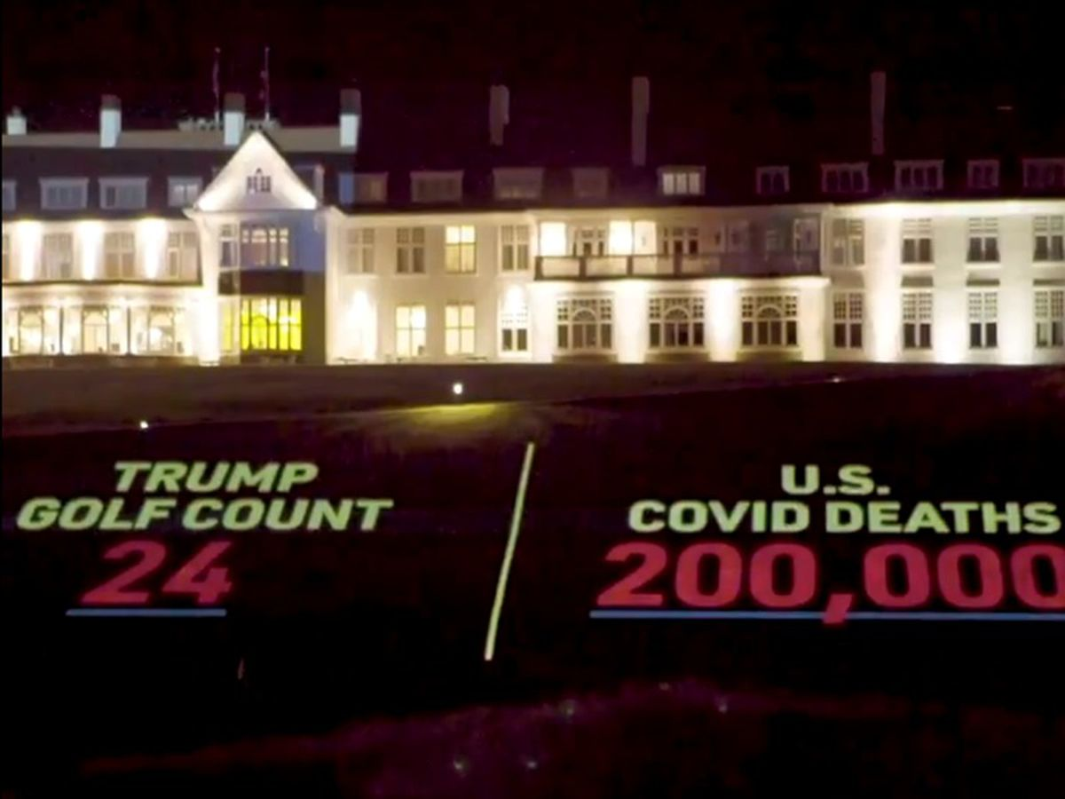 US president's golf outings lampooned in Led By Donkeys stunt at Trump Turnberry