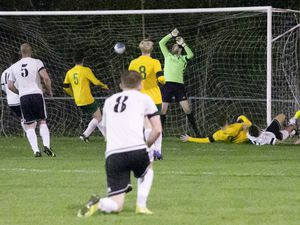 Louis Travis slides in at the near post to put Manzur ahead against Vale Rec at the Corbet Field last night. (Picture by Adrian Miller, 28799478)
