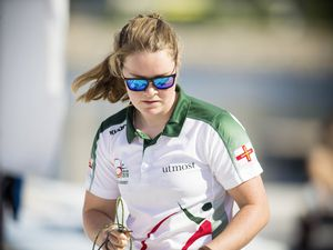 Picture By Peter Frankland. 10-07-19 Island Games 2019 Gibraltar. IG 2019. Sailing - Laser Radial class. Clem Thompson. (25191471)