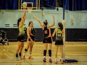 There was some more sharp-shooting from Clare Henry (left) and Abbie Greening for Panthers on Sunday. (Picture by Ben Fiore, 25853105)