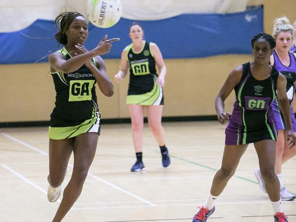 Pic by Adrian Miller 19-01-21 Les Beaucamps Netball Razzers Green v T&T Purple. (29131247)