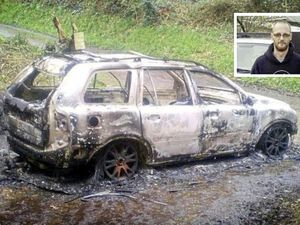 Picture By Colin Dodd. 23-01-18 Burned out car at Petit Bot with inset of Mikus Alps. Police have confirmed that the body found in the car was Mr Alps.. (22640941)