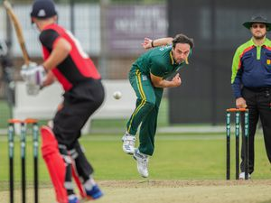Air-Bridge cricket: Will Peatfield steams in for Guernsey in one of last summer's inter-island games with the Isle of Man.