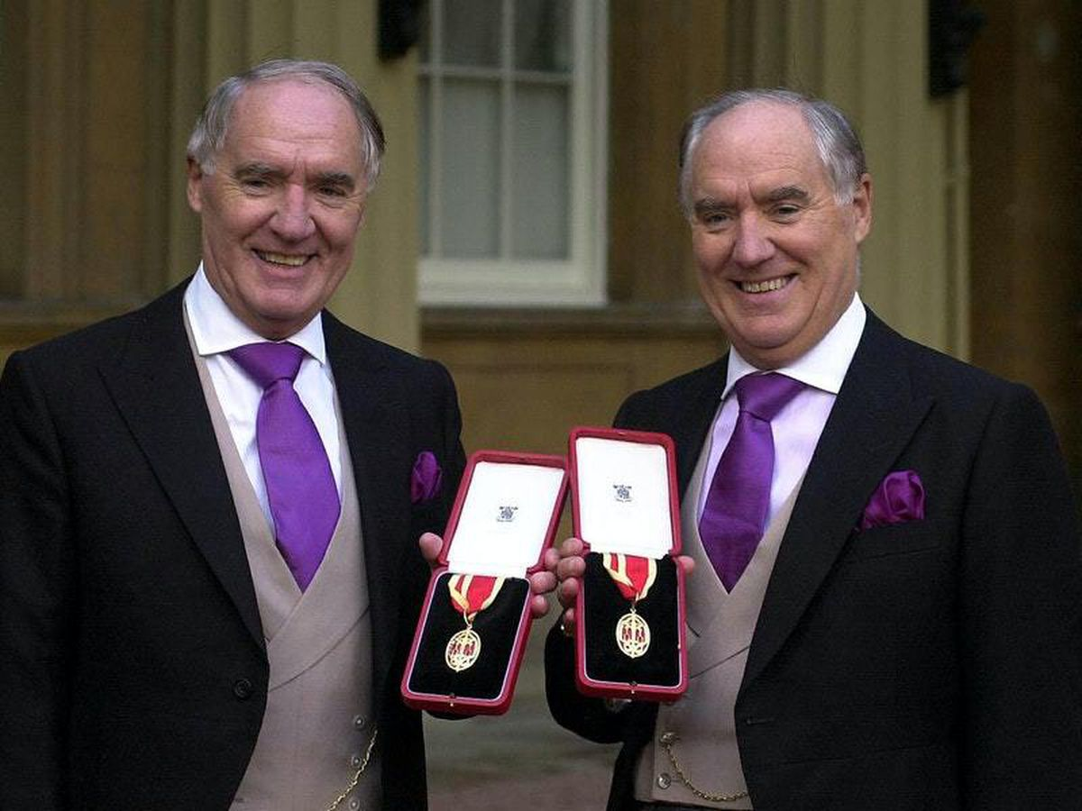 Sir David Barclay and his twin brother Sir Frederick Barclay after receiving their knighthoods at Buckingham Palace (29105627)