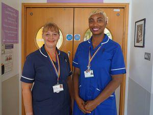 Nurses Alison Legg and Rachel Peterkin-Smith on Loveridge Ward. (Picture by Millie Robinson, 28568761)