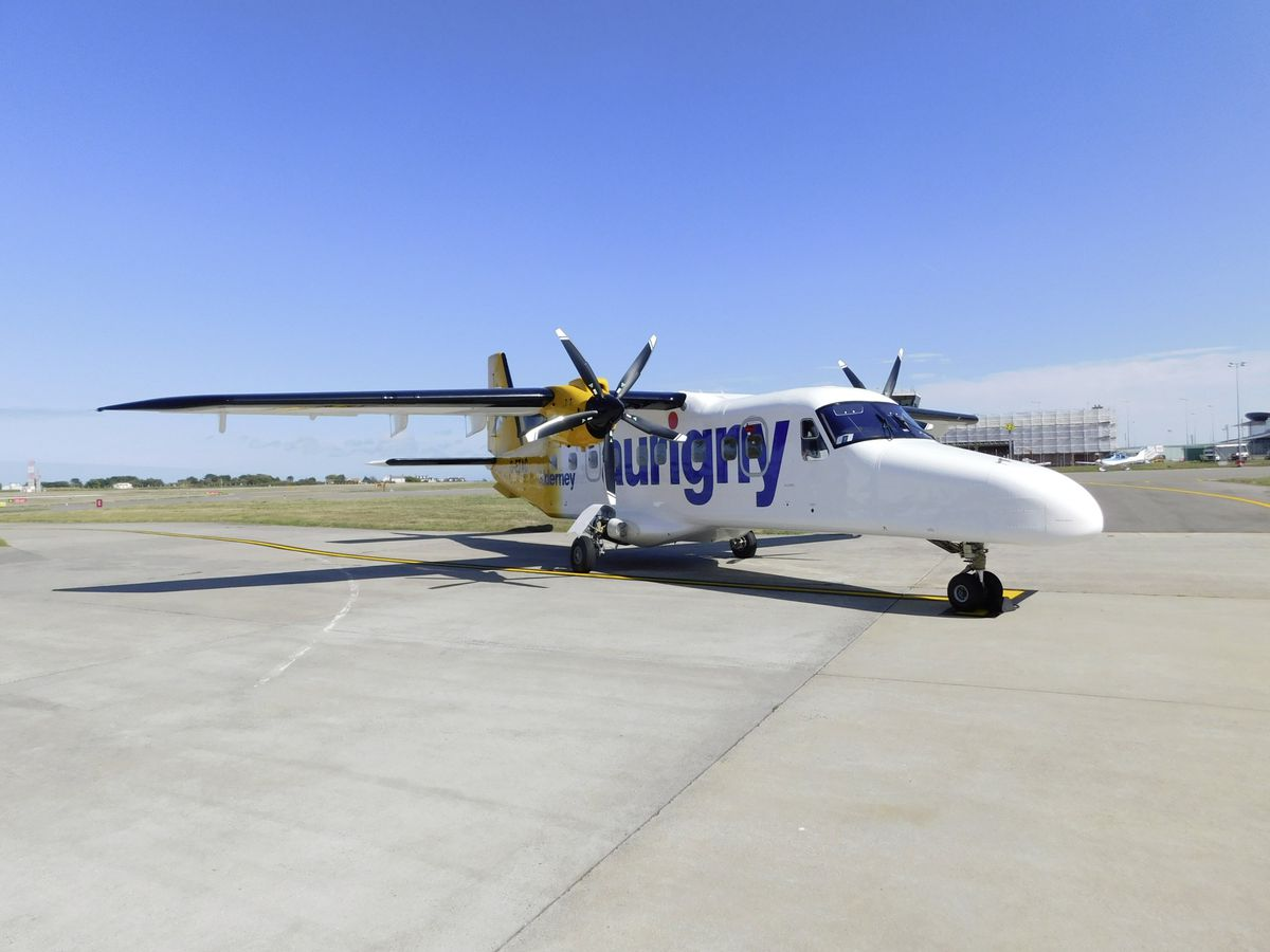 The Dornier that is operating the Alderney route at the moment (G-ETAC). A 19-seat Twin Otter, leased from Scilly Isles Skybus, will be put on standby. (Picture supplied by Aurigny)