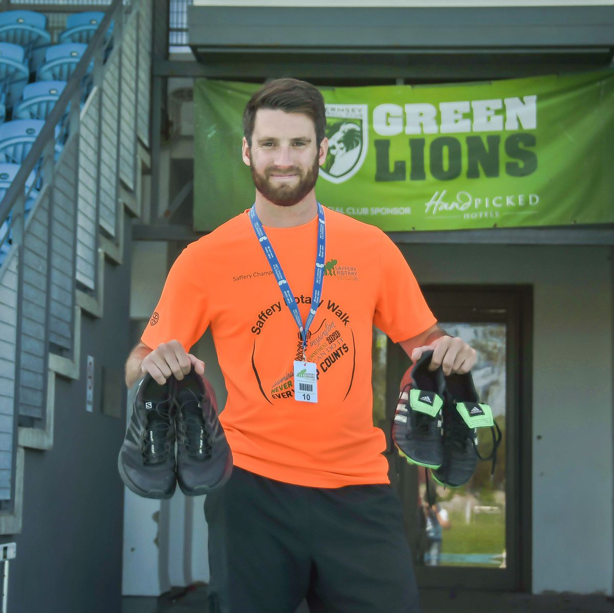 Guernsey FC star striker Ross Allen will walk the equivalent of the length of a football pitch 600 times when he takes part for the first time in the Saffery Rotary Walk.