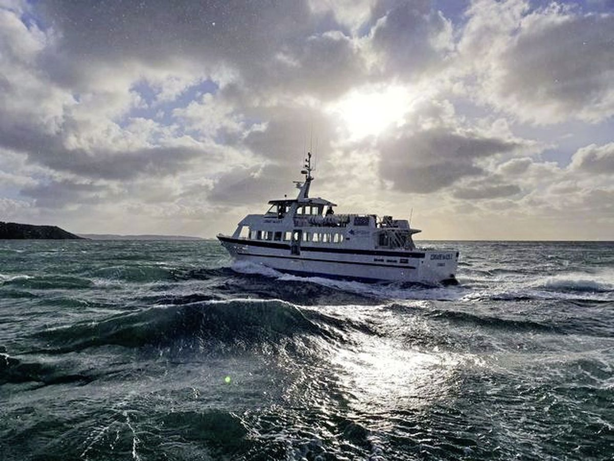 The new Isle of Sark Shipping passenger ferry Corsaire des Isles II on sea trials yesterday. (Picture by Stuart Malley, taken from the Flying Christine III)