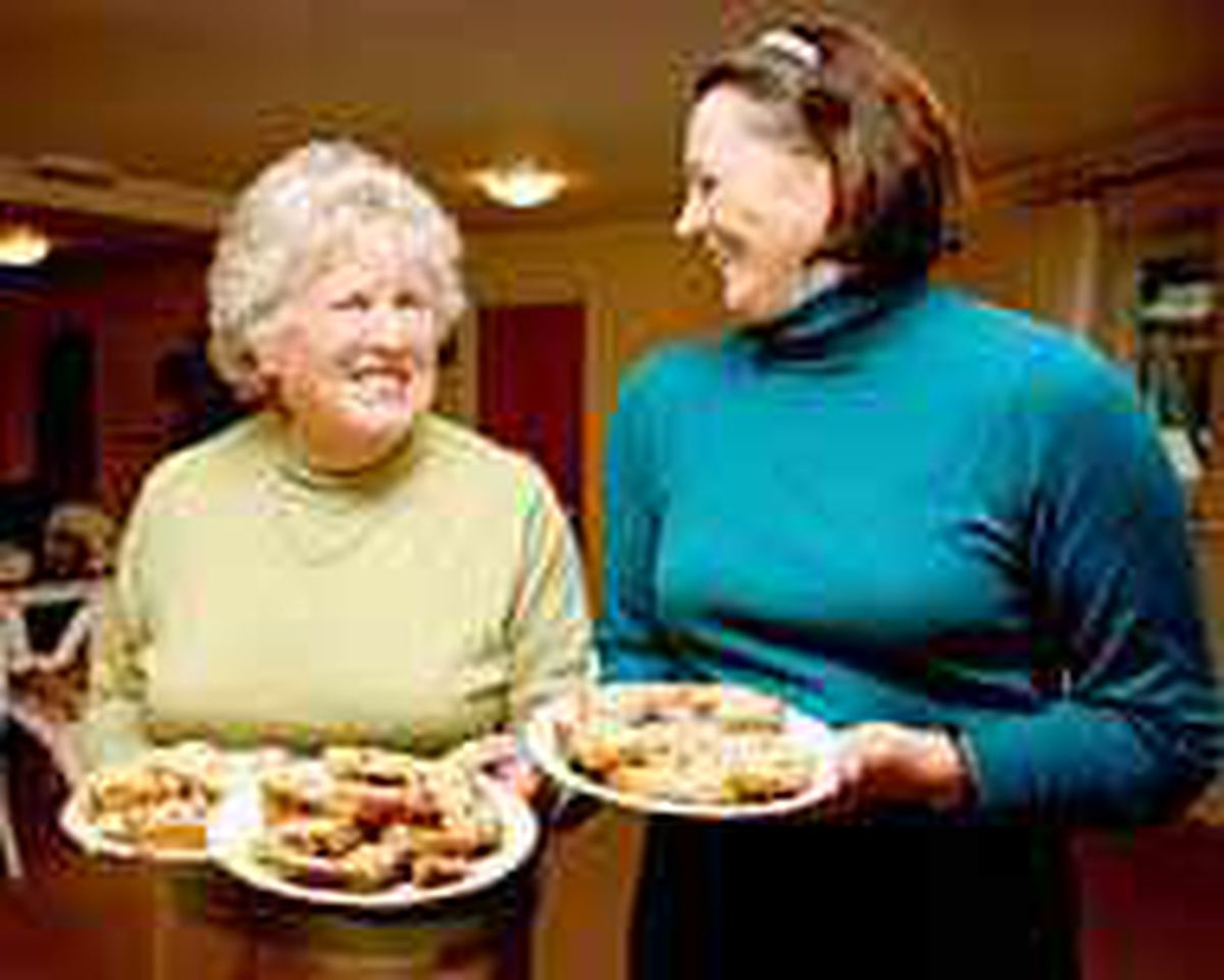 Julia White (right) with Marion Lewis, our champion gache-maker. (Pictures by Zoe Ash, 0511998)