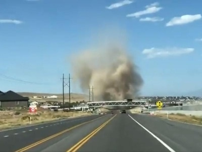This scary-looking dust devil was spotted crossing the road in Utah