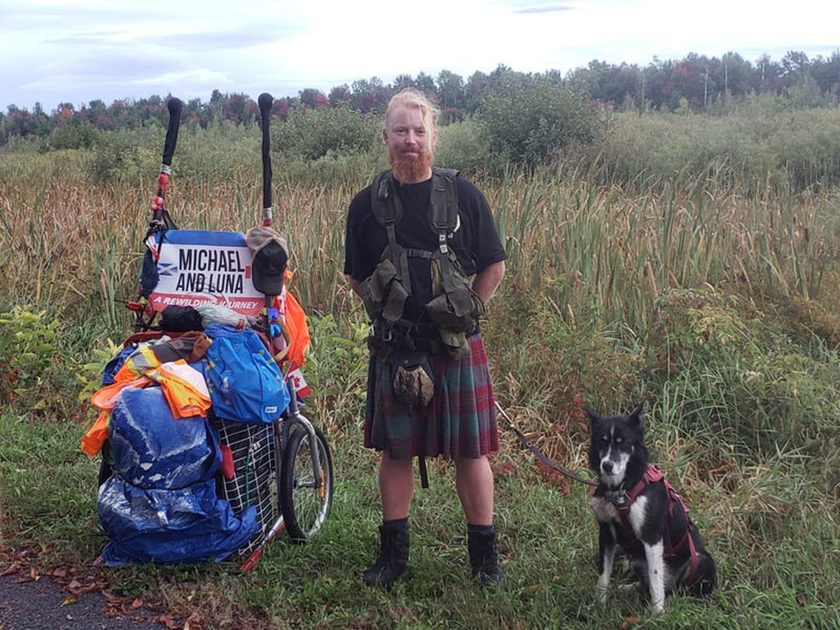 Musician set to complete 5,000-mile trek with pet husky in aid of tree charity