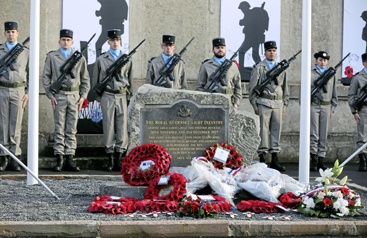 The memorial at Masnieres to the men of the Royal Guernsey Light Infantry was unveiled in a ceremony attended by both French and Bailiwick representatives yesterday.                         (Picture by Peter Frankland, 20042001)