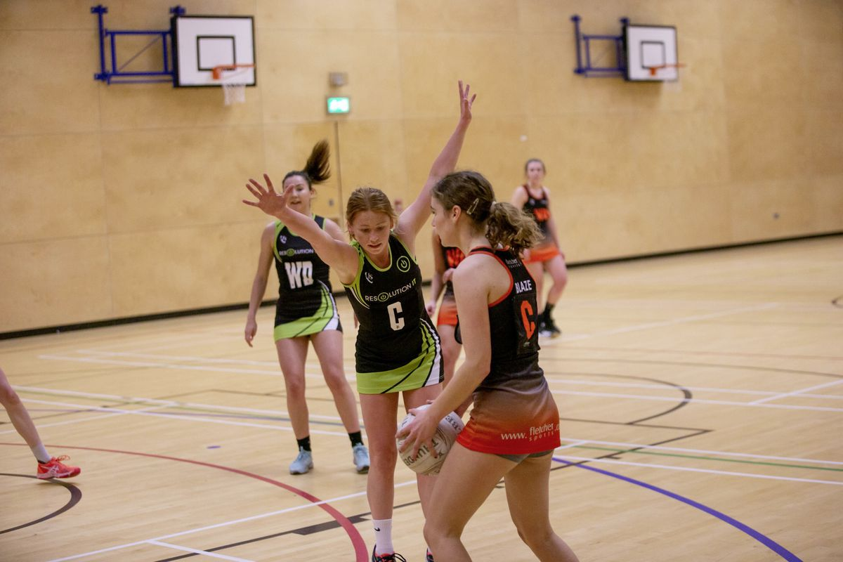 Young centres Lillie Cochrane (in possession) with Lauren Coutanche in opposition. (Picture by Sophie Rabey, 29408213)