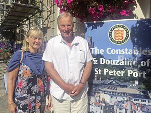 Jacky and Chris Meinke attended the St Peter Port constables' drop-in on Saturday.  (Picture by Helen Bowditch, 29979361)