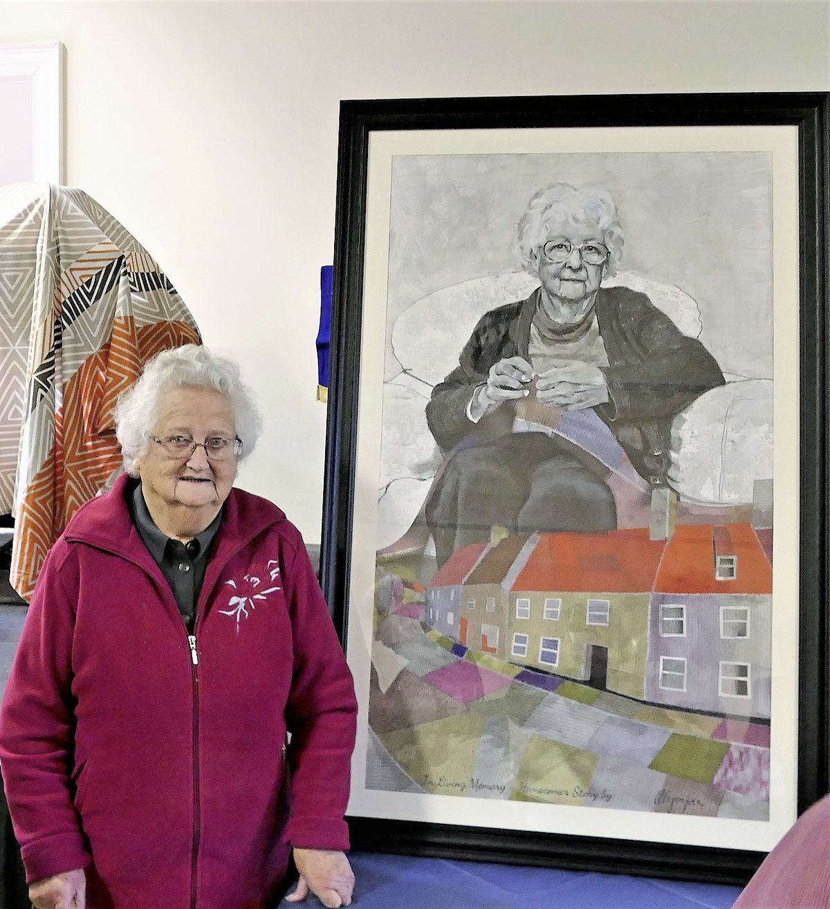 A portrait of homecomer Beda Thompson, by Guernsey artist Olympic McEwan, was unveiled by her sister, Hira Moore.