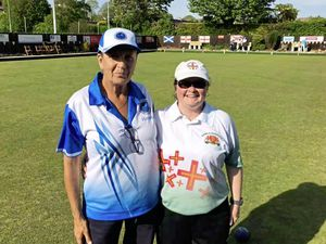 Atlantic Championships 2019 finalists Rita Gilor of Israel and Guernsey's Lucy Beere, right. (Picture from Bowls Guernsey)