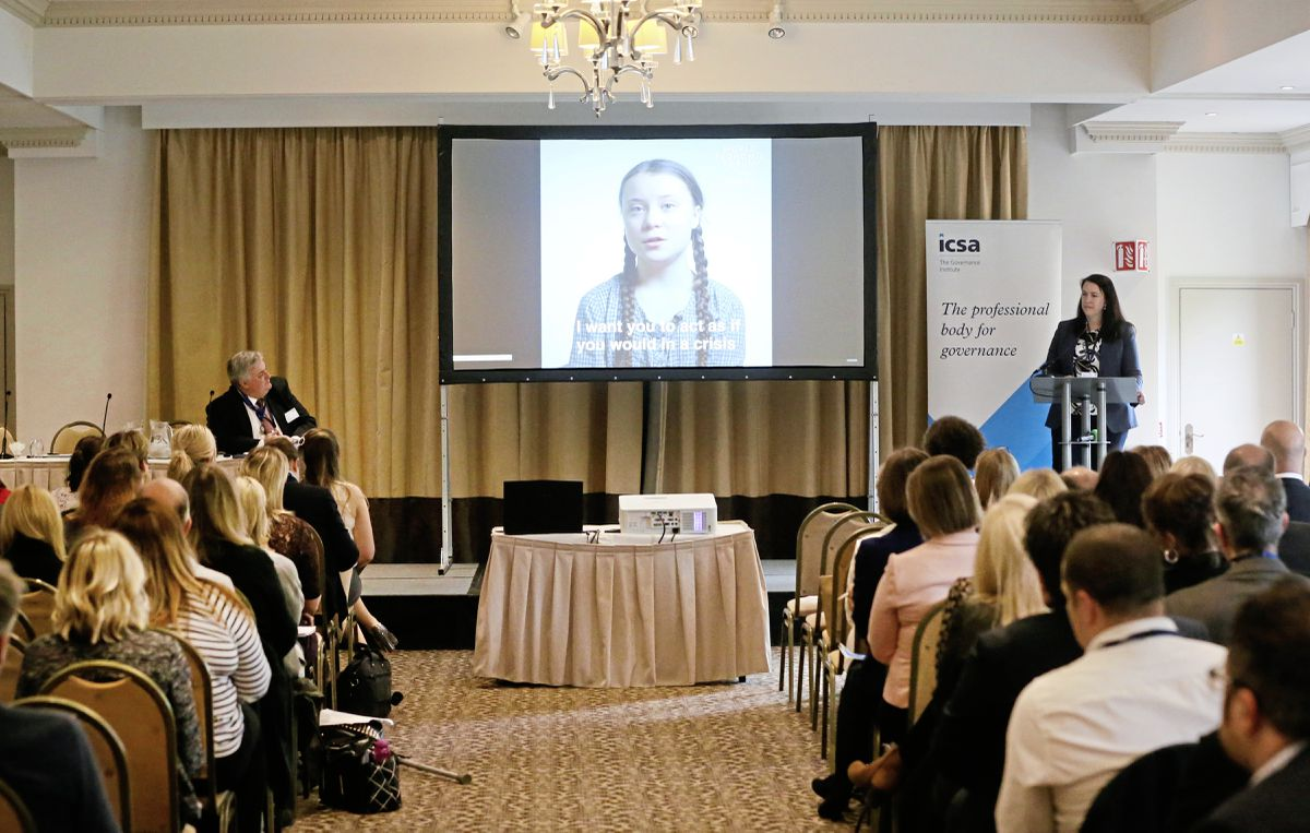 Delegates at the annual Guernsey ICSA conference watch a video of climate change activist Greta Thunberg during a presentation by Fiona Le Poidevin, CEO of the International Stock Exchange group. (Picture by Adrian Miller, 24552541)