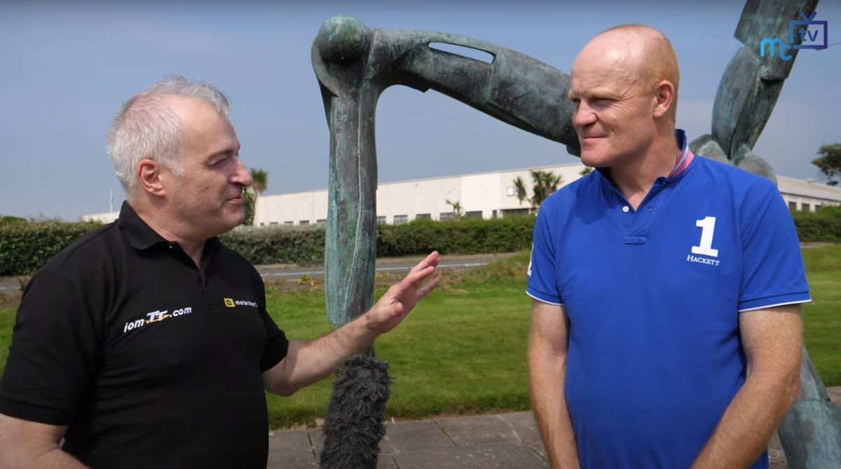 Deputy Gavin St Pier being interviewed by Paul Moulton for Isle of Man TV to discuss the latest air bridge situation, future Manx involvement with Aurigny and the Island Games 2021. Source: YouTube - https://bit.ly/2PRaySD.