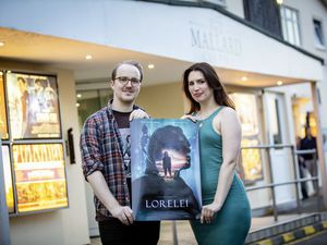 Picture By Sophie Rabey. 07-09-21. Lars Janssen and Charlotte Dawn Potter - Directors of Guernsey Filmworks who have made a new short film 'Lorelei', shot in Lihou and Guernsey. Opening night of the film at The Mallard. (29965268)