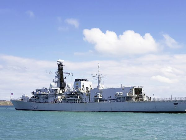Picture By Tony Rive. 15-04-21 HMS Westminster anchored off St Peter Port. (29443851)