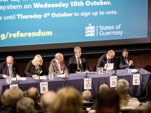 The five options in the referendum were represented at the hustings, A to C by official campaign groups, D and E by Deputies Barry Brehaut and Matt Fallaize.                                     (Picture by Peter Frankland, 22711442)
