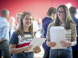 Picture By Peter Frankland. 20-08-20 GCSE results 2020. Blanchelande College L-R - Christina Salisbury, 16 and Abigail Gill, 16. (28601983)