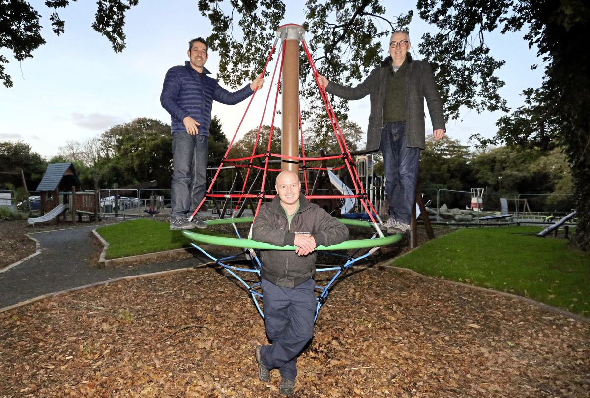 Equipment has now been installed for younger users of Saumarez Park playground. It is hoped the playground will open later this month depending on how the newly-sown grass area is coming along. Pictured are Friends of Saumarez Park chairman Zef Eisenberg, left, and vice-chairman Andy McCutcheon, right, with project manager Marco Tersigni. (Picture by Steve Sarre, 19716849)