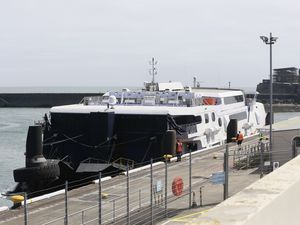 Condor Rapide was the first fast ferry to arrive in Guernsey since lockdown, but only 83 passengers were on board. (Picture by Adrian Miller, 28435661)