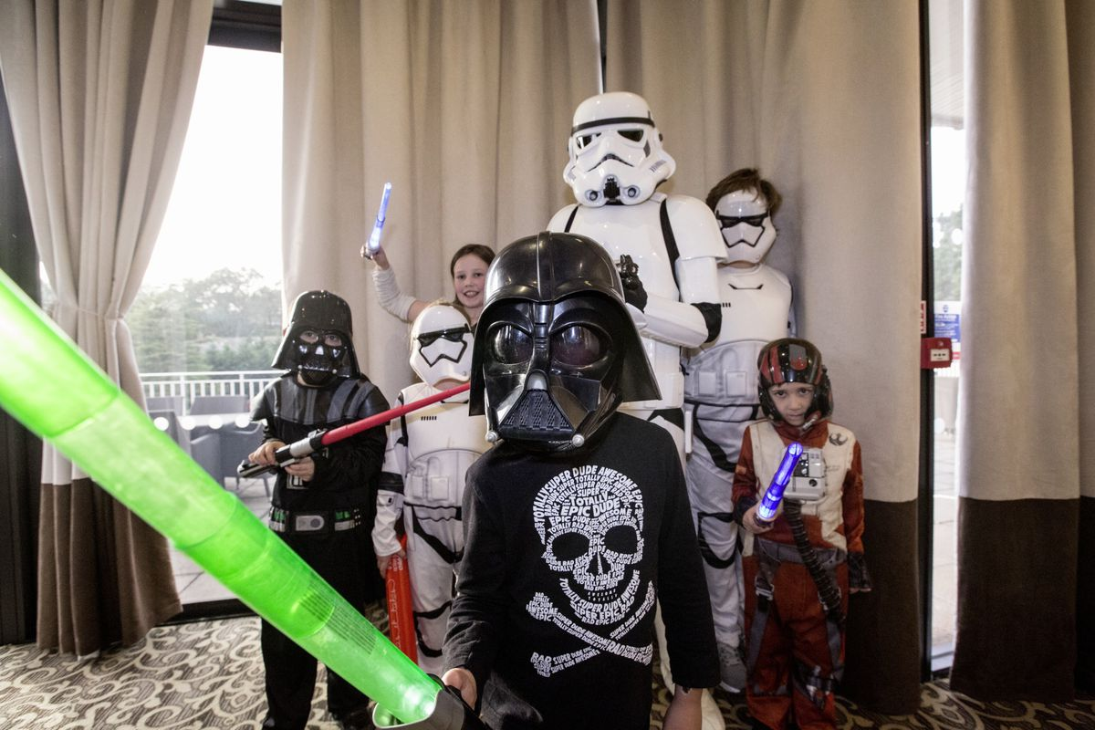 Pic by Adrian Miller 07-11-20 St Pierre Park Hotel Star Wars tea party for Autism Guernsey - Nearest the camera is Darth Vader AKA Terry Chatfield 7. (28887211)
