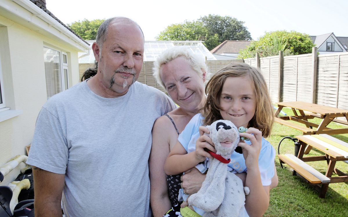 The Caradeuc family at their St Martin's home. Keith, Tania Kathryn and Amber, 7.                               (Picture by Adrian Miller, 22203890)