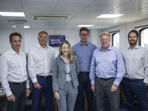 Picture by Sophie Rabey.  24-06-20.  Rocq Capital Team for Business Interview.  L-R John De Garis, Jamie Gregson, Ruth McKenzie, Adam Cox, Stuart Perfitt, Harry Bazzaz.. (28597794)