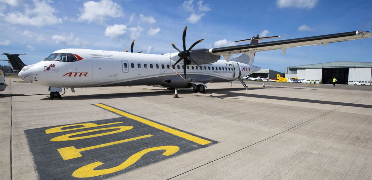 Aurigny has said that, although the business case for buying the three ATRs fitted with ClearVision fog-beating technology has yet to go before the States, the refundable reservation fee allowed it to secure the 'game-changer' planes.                                                                                     (Picture by Steve Sarre, 22318395)