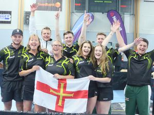 The Guernsey team celebrate winning gold at the Gotland 2017 NatWest Island Games. (Picture by Adrian Miller, 24008756)
