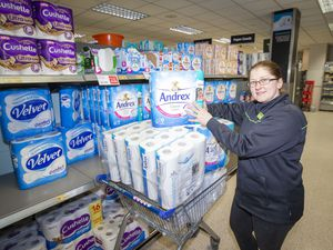 One of the highlights of Co-op CEO's Mark Cox's year was what he dubbed the 'toilet roll saga' when there was panic buying at the start of lockdown. Ieva Jacino is seen restocking the shelves at the Grand Marche in St. Sampson's. (Picture by Sophie Rabey, 29061669)