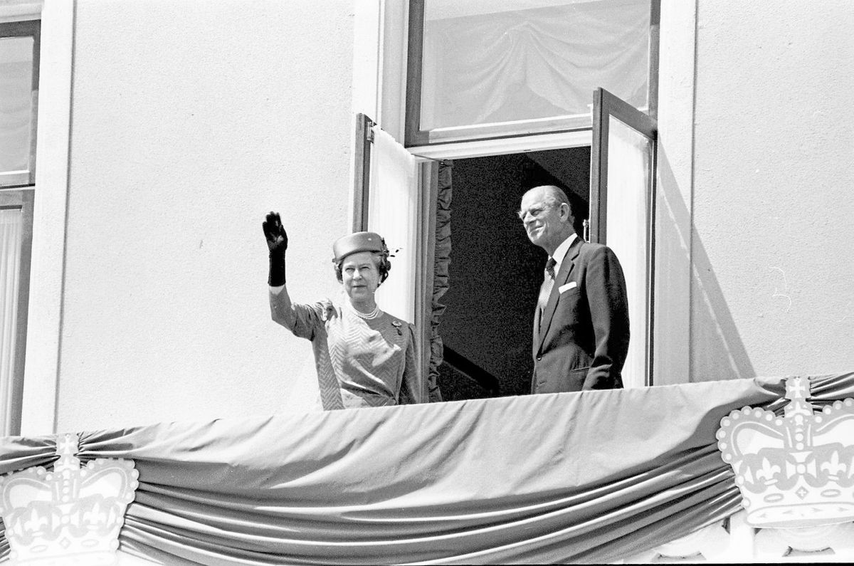 Her Majesty The Queen and His Royal Highness The Prince Philip, Duke of Edinburgh on the balcony of The Royal Hotel, St Peter Port, in 1989. (29421372)