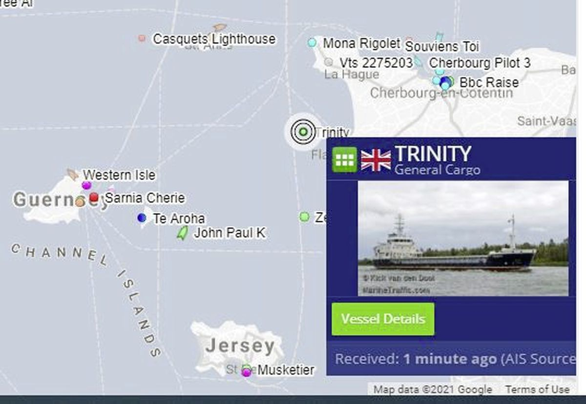 Screen grab from Digimap AIS showing the MV Trinity sheltering off the French coast, unable to dock in Alderney due to the strong winds.