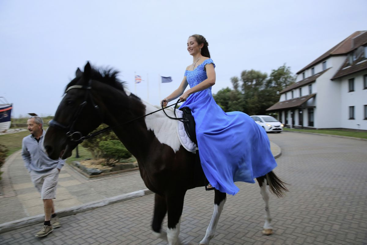 Sixteen-year-old Kylie Vaudin arrived on her horse, Big Will. (Picture by Adrian Miller, 28706298)