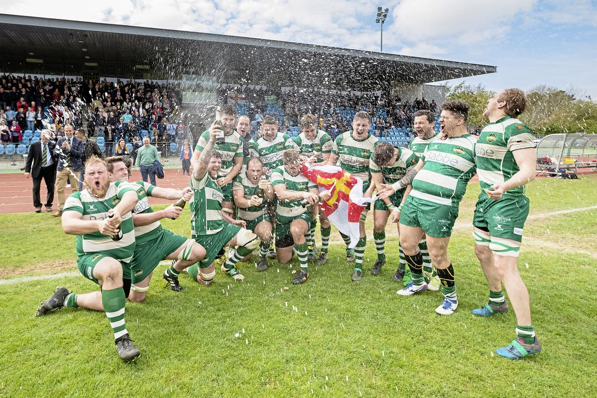 Guernsey Raiders celebrate their 38-23 win over Bournemouth in the National Two promotion play-off at Footes Lane. (Picture by Martin Gray)