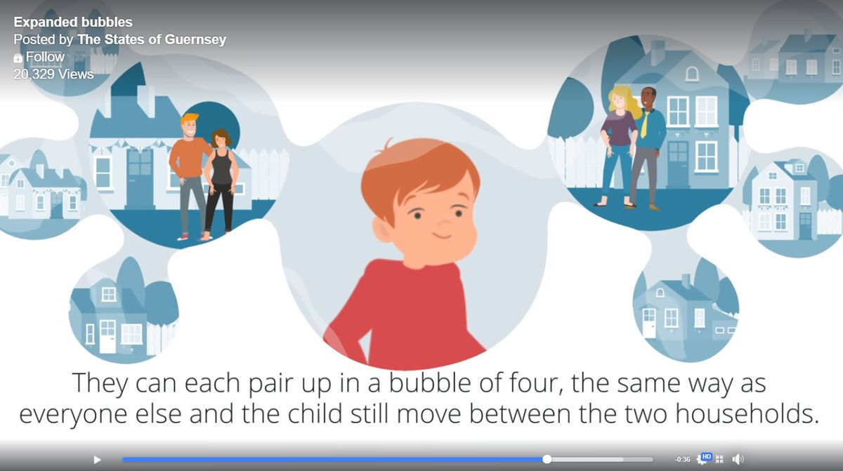 The States have released a video explaining the expansion of household bubbles as Guernsey progresses through lockdown exit strategy phases. (28289936)