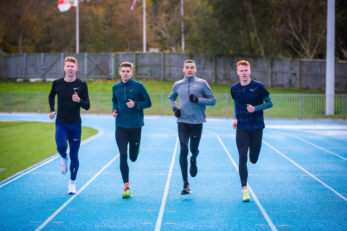 Left to right: Cameron Chalmers, Ben Claridge, Joe Reid and Alastair Chalmers training together at Footes Lane before Christmas. (Picture by Peter Frankland, 29079925)