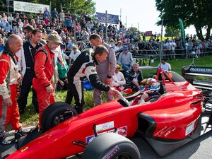 No time for the National: The GMC&CC organised rounds of the British Hillclimb championship won't be going ahead in 2020. A year ago drivers lined up to congratulate visiting round winner Wallace Menzies.(Picture by Andrew Le Poidevin, 28328262)