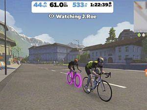 James Roe outsprinting Corrin Leeming to ensure that Guernsey monopolised the Zwift podium, with a return to 'real' racing imminent. (29312151)