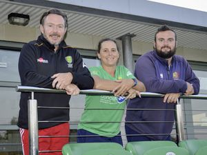Guernsey Hockey coaching changes. Left to right: Outgoing men's coach Andy Whalley with new island team coaches Bex Hubbard and Andy Good.