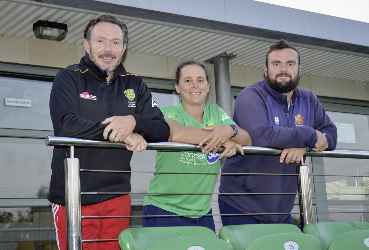 Left to right: Outgoing men's coach Andy Whalley with new Island women's and men's team coaches Bex Hubbard and Andy Good. (Picture by Gareth Le Prevost, 28714689)