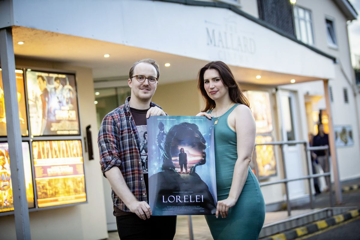Lars Janssen and Charlotte Dawn Potter, directors of Guernsey Filmworks, who have made a new short film, Lorelei, shot in Lihou and Guernsey. The pair are pictured at the film's opening night at the Mallard Cinema. (Picture by Sophie Rabey, 29965268)