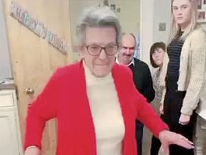 79 year old Elizabeth Williams, who clocked up over one million views on Tik Tok of her dancing. Here she is throwing shapes on the video that her granddaughter, Olivia Alves, took and posted on the social media site. (28007092)