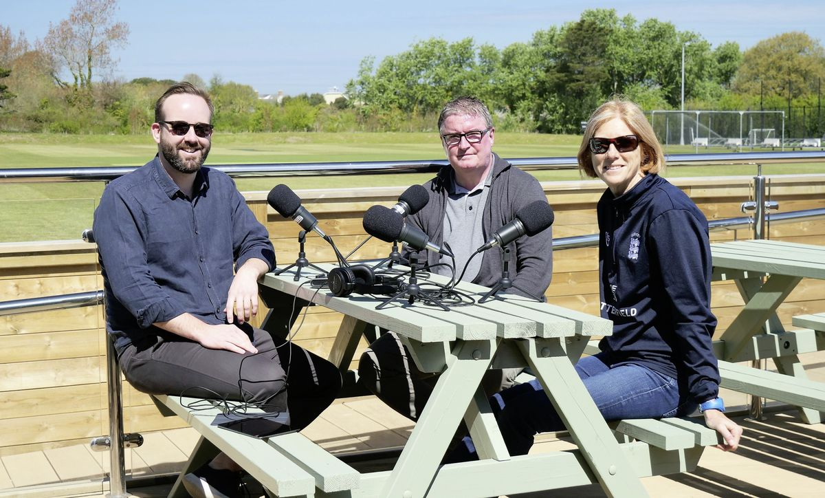 Guernsey Press Sport Podcast cricket special recorded on the new 'Legends Terrace' at the KGV. Left to right: Host Tony Curr, Guernsey Cricket Board chief executive Mark Latter and Island player/women's representative on the board Philippa Stahelin. (29486043)