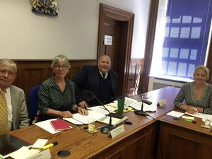 L to R, Deputies John Dyke, Yvonne Burford, Simon Fairclough from Scrutiny Management Committee, and Deputy Victoria Oliver. picture credit: Helen Bowditch (29656240)